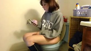 Crazy girl in toilet