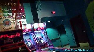 Pov teen blows in arcade toilet