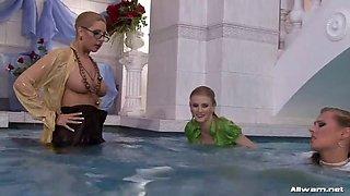 three lesbians fight in a swimming pool