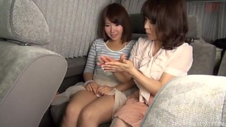 Mature amateur Japanese lesbians pussy licking in a bus