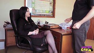 rubs cock hot secretary