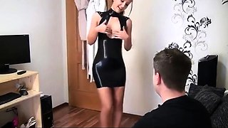 Cute Girlfriend Fucks Partner In Shiny Latex Outfit