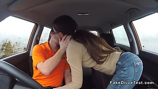 hot student banged in driving school car