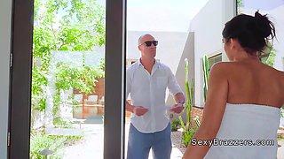 dude bangs friends busty wife in shower