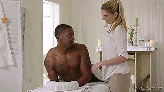 BBC fucks amazing beauty Melissa Moore right on the massage table