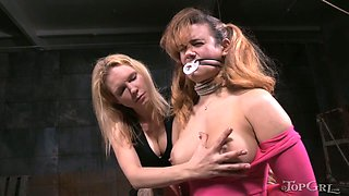 Cruel mistress is fisting twat of busty harlot Penny Barber