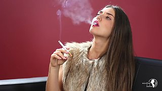 Insanely hot brunette smokes for you hd