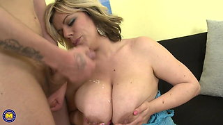 Natural busty MILF seduce young lucky stud