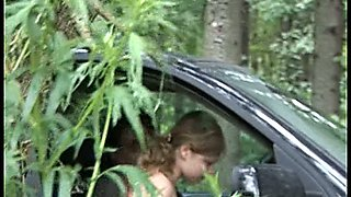 Hot spy video featuring girl sucking a dick in the car and pissing in the bushes