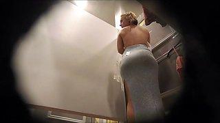 Dressing room, topless, posing