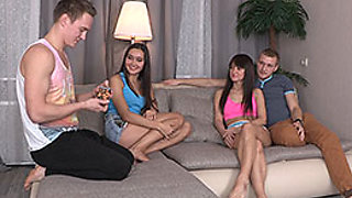 Edward & Brian & Lori & Aziza in Foursome Party With Sex Cards - YoungSexParties