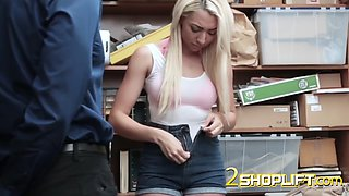 teen blonde telling the story to a loaded cop dong