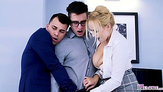Instense bi threesome sex in the office from hot workers