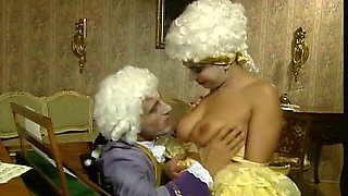 Lovely aristocratic sexy babe shows her goodies and sucks dick
