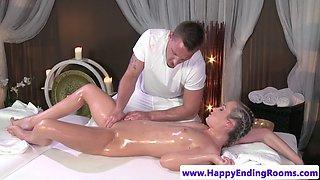European cutie cockriding her masseur