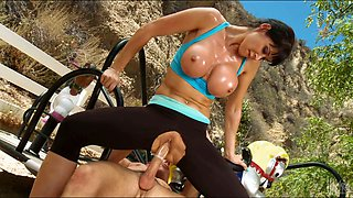 Sporty sexpot with big tits rides dick like a true cowgirl