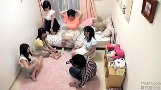 Lucky stud has a group of hot Asian babes sharing his dick