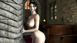 Voluptuous 3D babe has a big shaft deeply invading her pussy