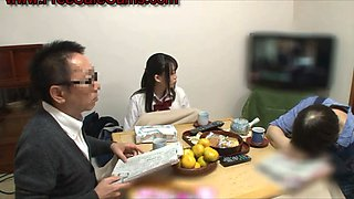 HORNY japanese teen fucked at dinner
