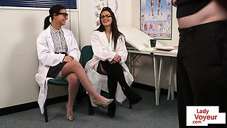 Doctor babes dominate wanking submissive