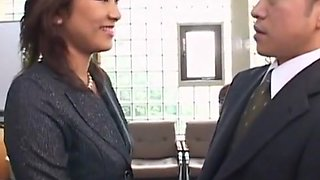 Boss Licks Her Male Workers Into Shape