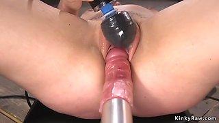 Brunette getting orgasms on fucking machine