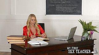 Fabulous blonde MILF Katie Morgan makes boobs bounce while riding dick