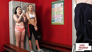 Voyeur gym duo film JOI in the fitness lockerroom