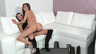 Casted lesbians tribbing and kissing