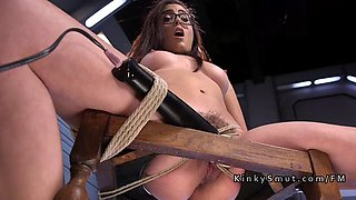 tied up babe anal punished by fucking machine