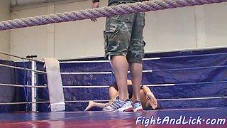 Wrestling lesbians dildofucking in a ring