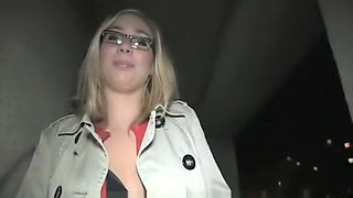 PublicAgent Blonde in glasses fucks big cock outdoors in public