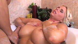 Bath fantasiy with blonde mature