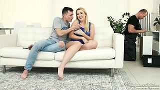 Samantha Rone and her BF invite a carpenter to take part in crazy threesome sex