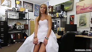 Sexy Blonde Pawns a Wedding Dress - XXX Pawn