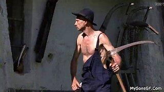 Skinny man fucking his son&#039s blonde gf outdoors