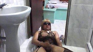 beautiful transvestite cum alone