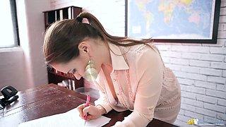 Young secretary Olga Cabaeva shows off off her sweet looking big boobies