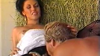 Incredibly hot and lascivious brunette blows dick of a cowboy