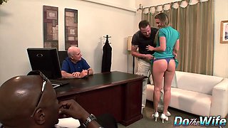 The Husband of Daisy Layne Watches Her Get Fucked on a Desk by a Porn Stud