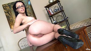 Hot brunete with glasses fingers her pink pussy