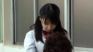 Japanese schoolgirl fucks her unshaved pussy with toy