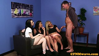 Young eurobabes teasing CFNM fetish guy