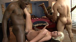 Alluring cowgirl giving big black cock blowjob then yelling while being banged hardcore in foursome sex