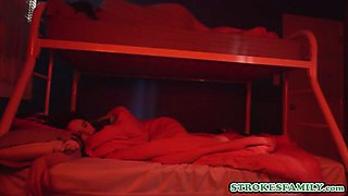 Stepdaughter sleepover ends in a secret taboo fuck