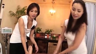 Subtitled CFNM POV Japanese massage milf double handjob
