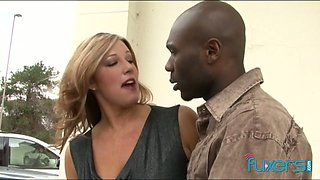 Ample breasted milf is cheating on her husband with BBC