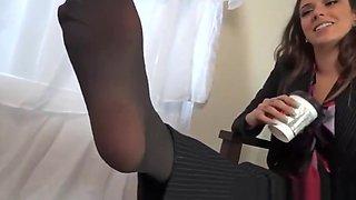 Kayla sexy secretary stinky feet pantyhose