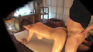 Big natural Japanese milf tits look incredible covered in oil