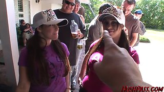bigtit sisters banged at outdoor frat party